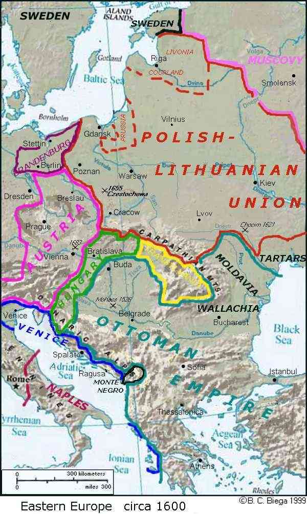 Global lithuanian net lithuanian history resources a map of lithuania and eastern europe around 1600 ad gumiabroncs Image collections